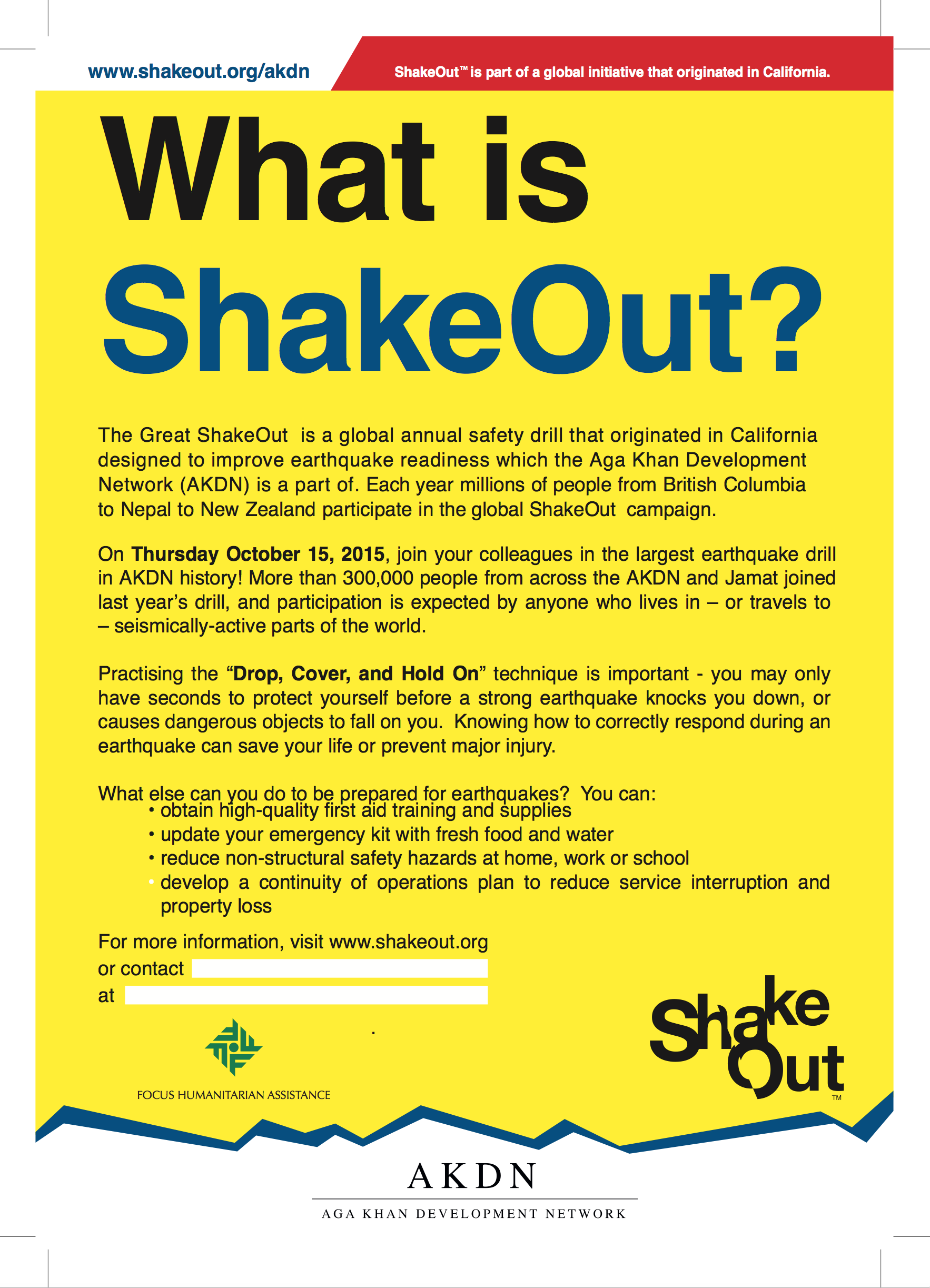 Great ShakeOut Earthquake Drills - AKDN