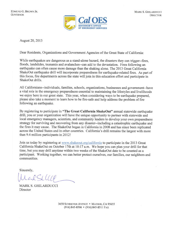 CalOES Letter