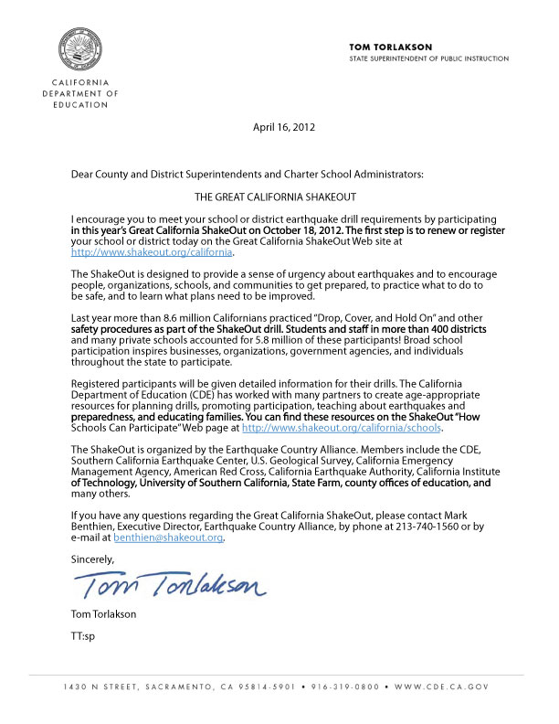 Letter from Tom Torlakson, State Superintendent of Public Instruction