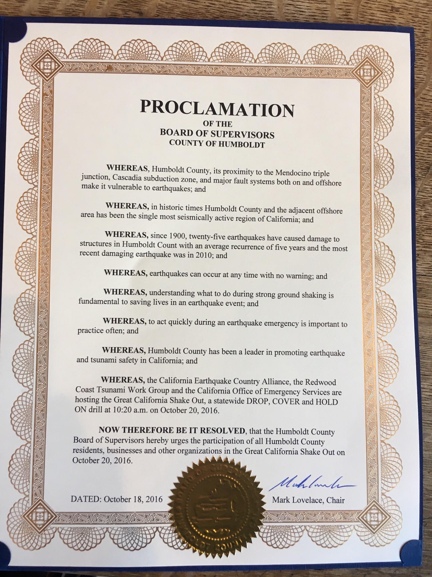 Humboldt County Proclamation
