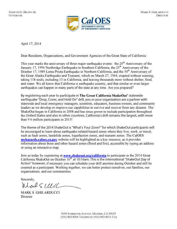 The great california shakeout how state agencies and offices can letter from mark ghilarducci spiritdancerdesigns Images
