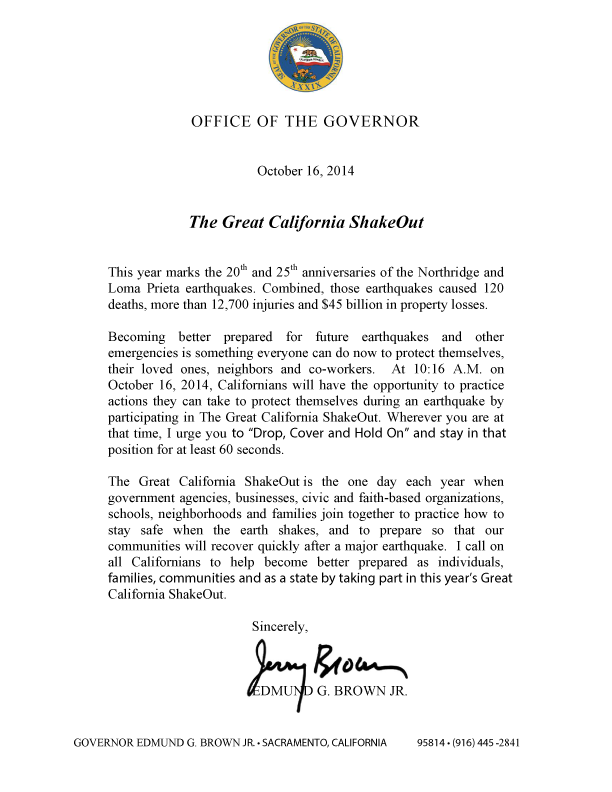 California Governor Jerry Brown Letter