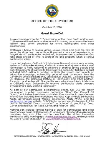California Governor Gavin Newsom Letter