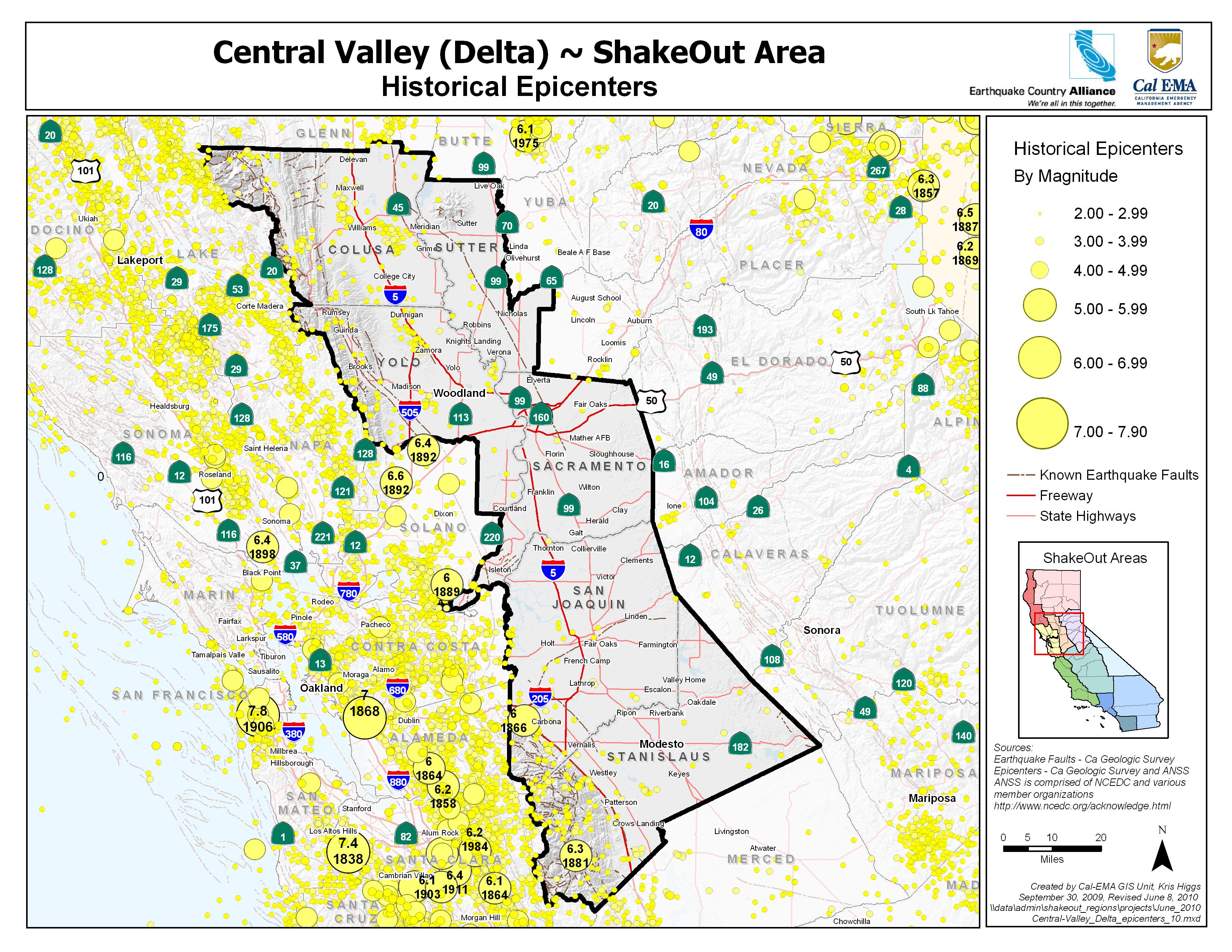 central valley delta area epicenters and faults