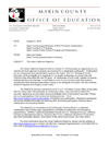 Marin County Office of Education Letter
