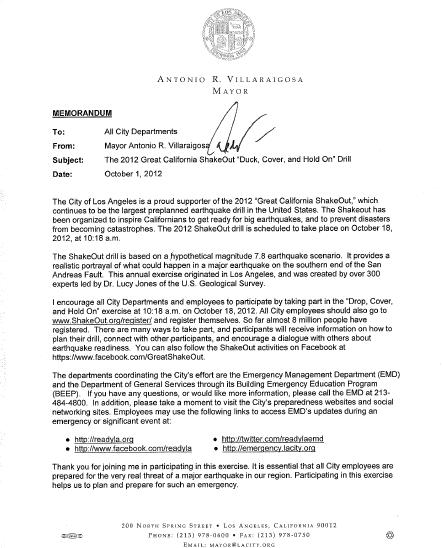 LA Mayor Letter