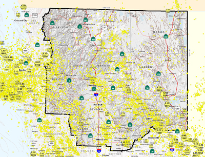 Shasta Cascade Area Epicenters and Faults