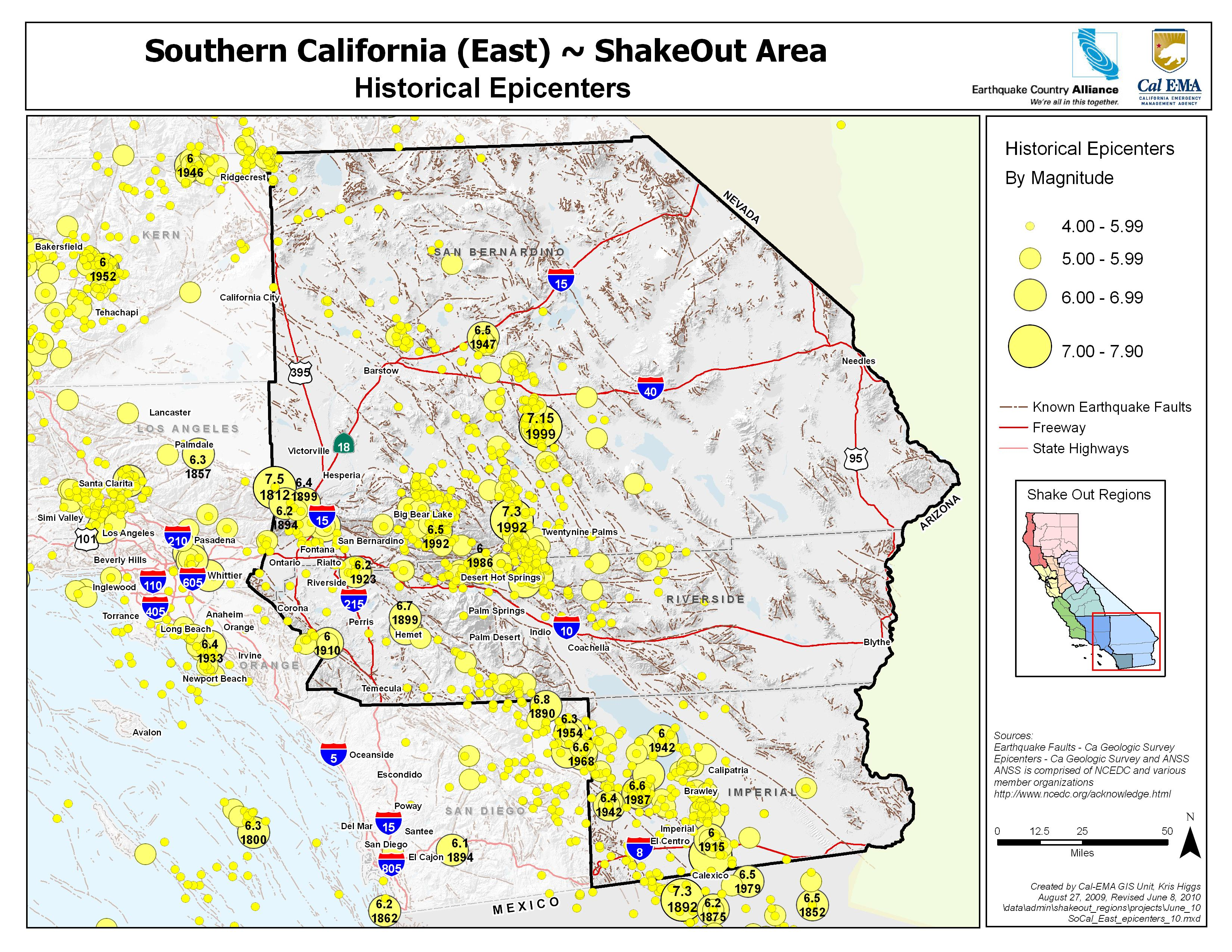 The Great California ShakeOut Inland Southern California Area - Southern ca map