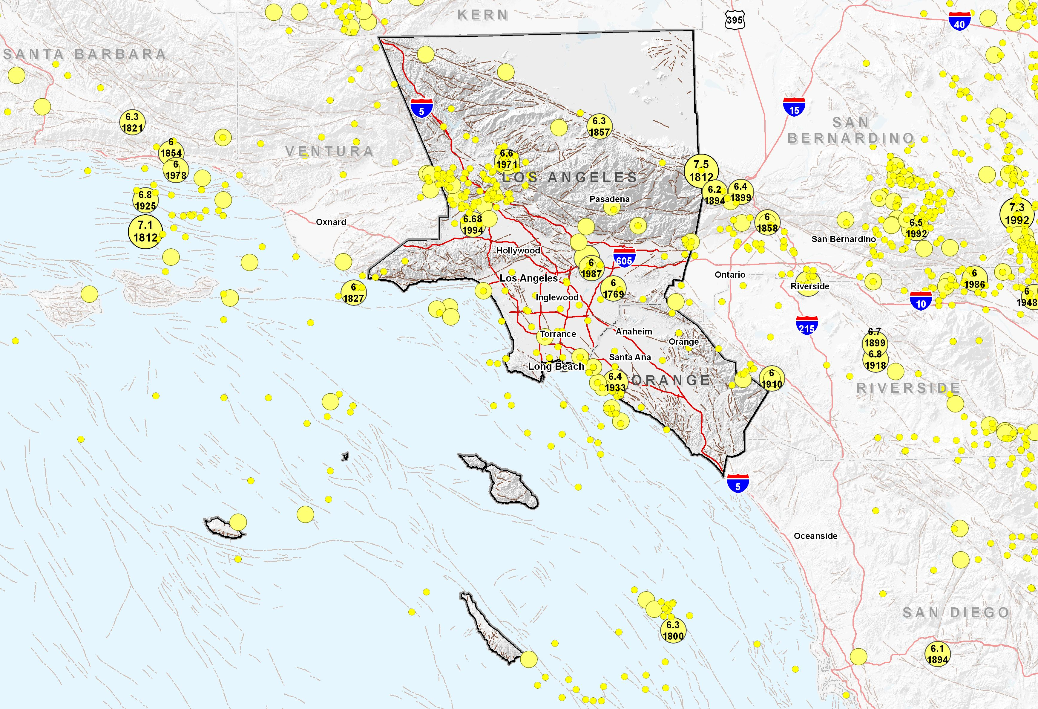 Southern California Coast Area Epicenters and Faults