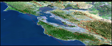 Bay Area Fault Map (looking North)
