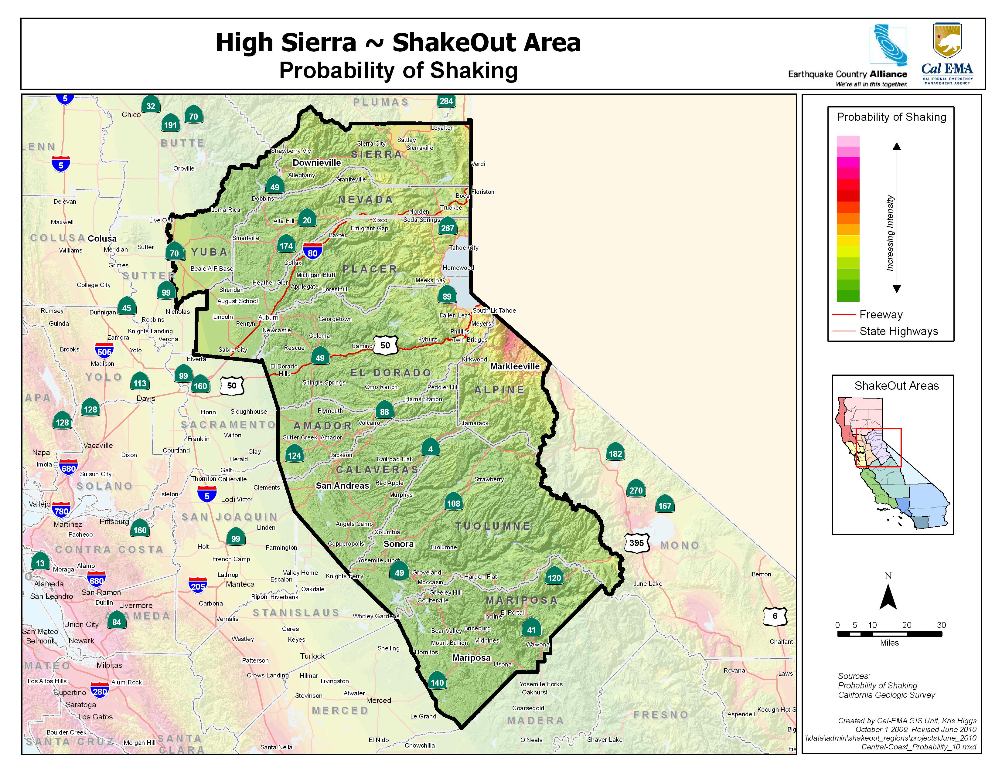 Great ShakeOut Earthquake Drills High Sierra area