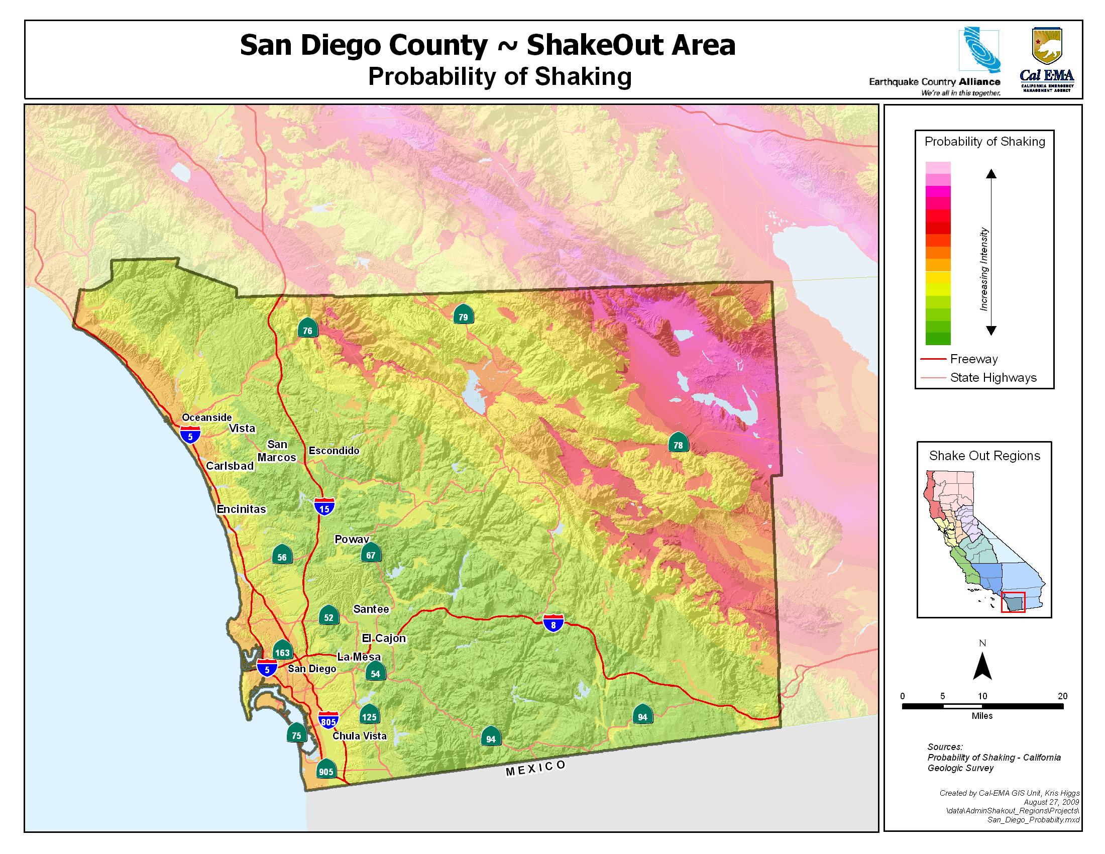 San Diego County Earthquake Shaking Potential
