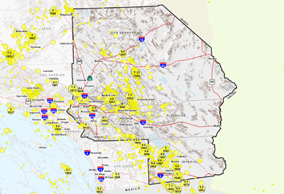 Southern California (East) Area Epicenters and Faults