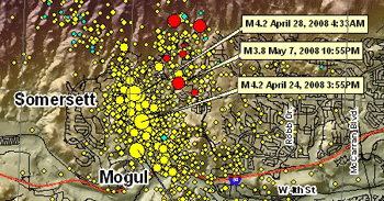 Notable Earthquakes in Nevada map