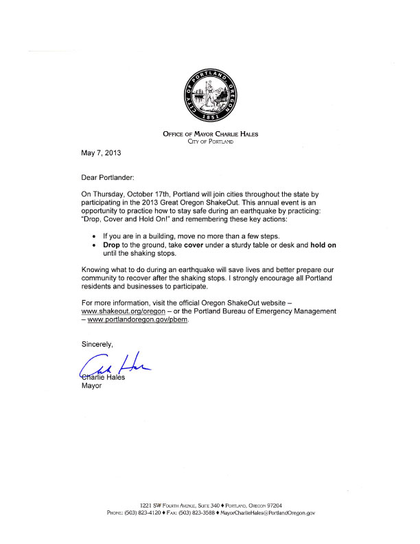 Portland Mayor Letter
