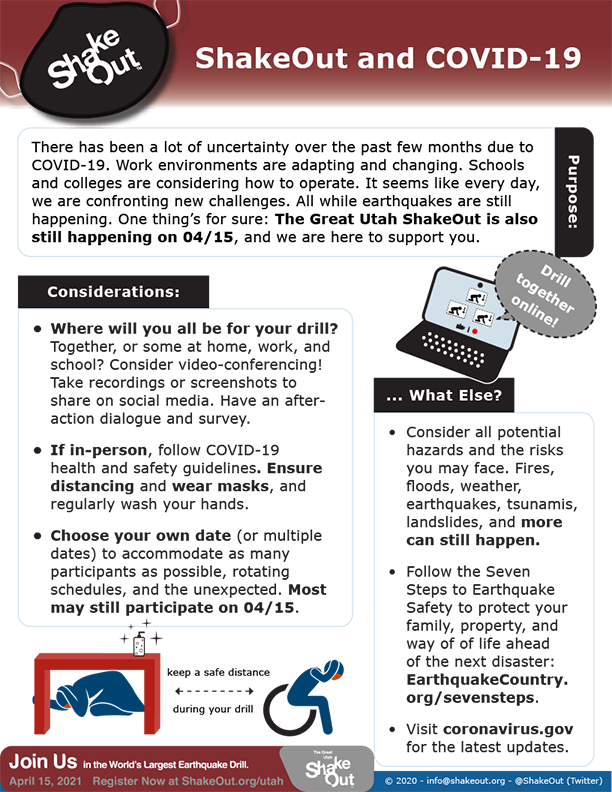 ShakeOut Considerations for COVID-19 Flyer - where and when will your drill be held? Will you drill together online? If in person, follow health and safety guidelines.