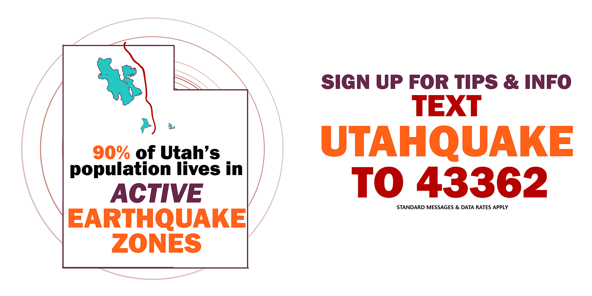 90% of Utahns live in active earthquake zones. Sign up for tips and information. Text UTAHQUAKE to 43362.